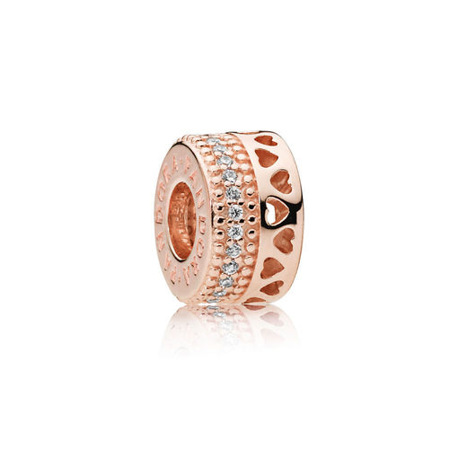 "Pandora Rose Signature Spacer ""Hearts of Pandora""  787415CZ"