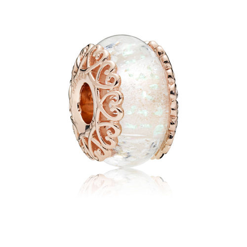 "Pandora Rose Charm ""Iridescent White Glass""  787576"