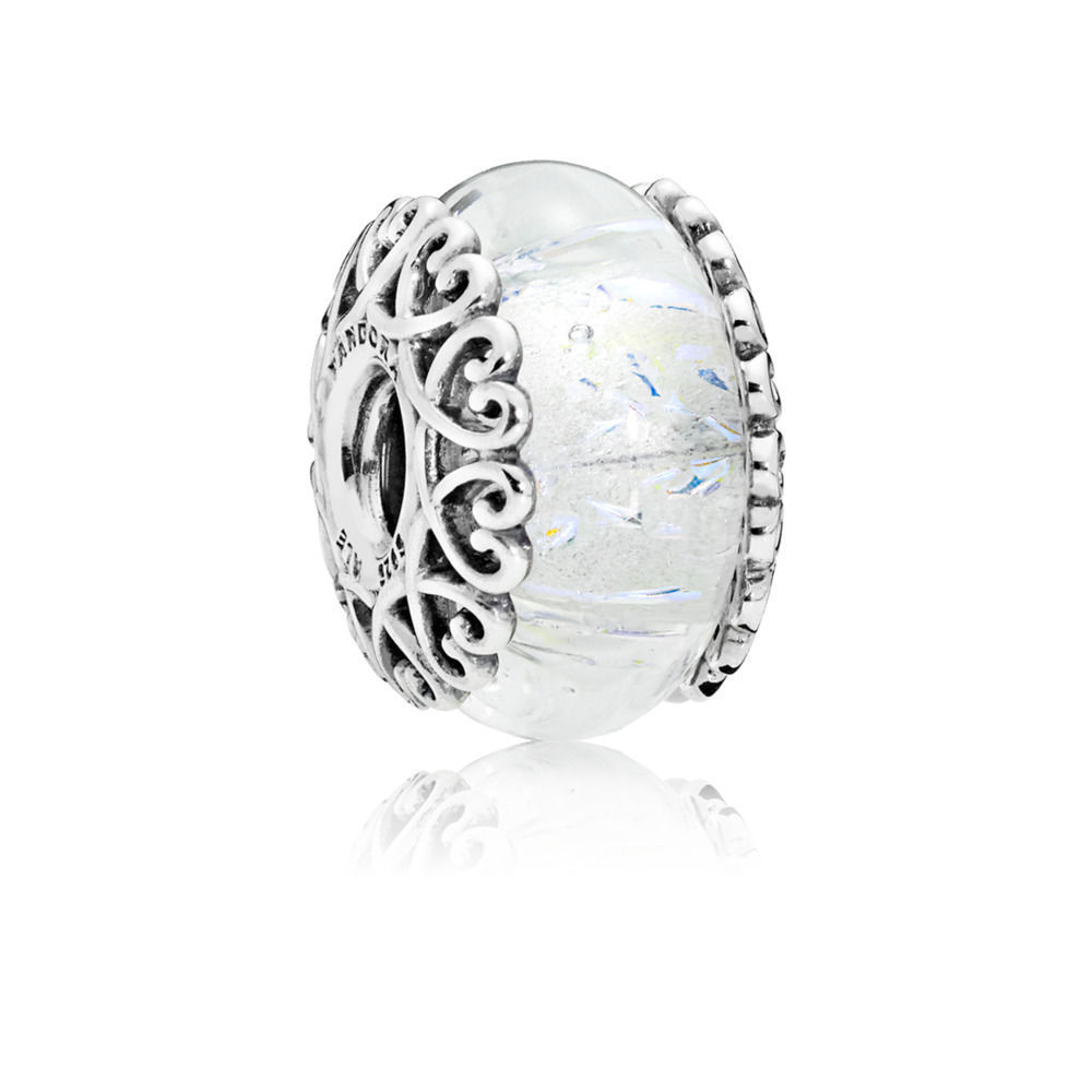 "Pandora Charm ""Iridescent White Glass""  797617"